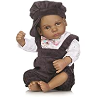 SC DOLL Reborn Baby Dolls,Full Silicone Body Lifelike MINI Newborn Baby Dolls, 25cm African American Boy