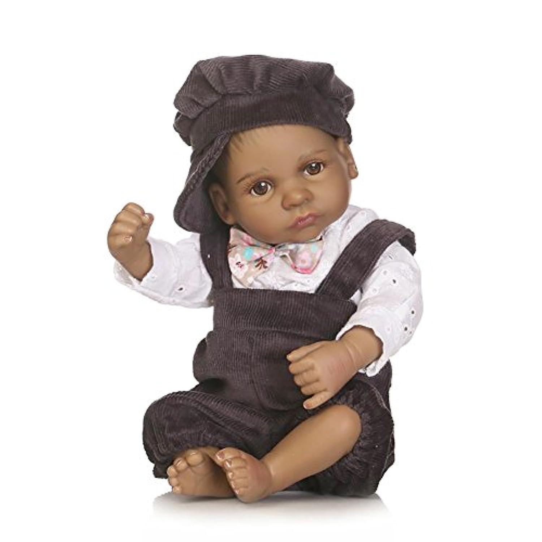 SC DOLL Reborn Baby Dolls,Full Silicone Body Lifelike MINI Newborn Baby Dolls, 25cm African American Boy
