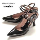 BE-ブラックエナメル 24.0 RABOKIGOSHI works 靴 ラボキゴシ ワークス 1533-BE バックストラップ パンプス 黒 エナメル バックベルト 21.5 22.0 ? 25.0 25.5 26.0