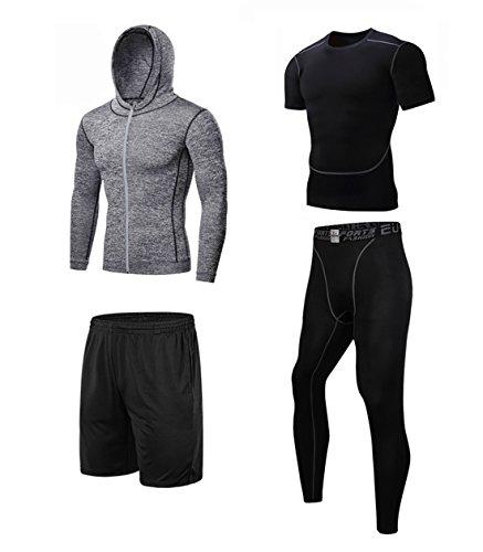 上下セット ドライメッシュ スポーツシャツ ショートパンツ メンズ グレー L