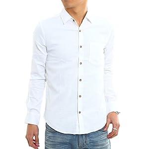 インプローブス 綿麻 シャツ ウッド調ボタン スリム ストレッチ パナマ織りシャツ メンズ A 長袖 ホワイト M サイズ
