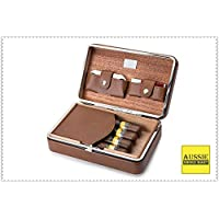 Black Leather Cedar Wood Lined Portable Cigar Travel Case Humidor 6 Count COHIBA