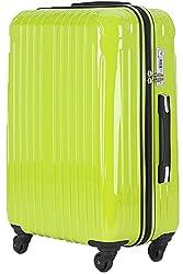 TY001大型(ラッキーパンダ) Luckypanda スーツケース 超軽量 大型 TSAロック 2年修理保証 ファスナータイプ TY001 ハード キャリーバッグ キャリーケース キャリーバック トランクケース 軽量 Lサイズ Suitcase Luggage (Lサイズ(長期旅行向け), グリーン)