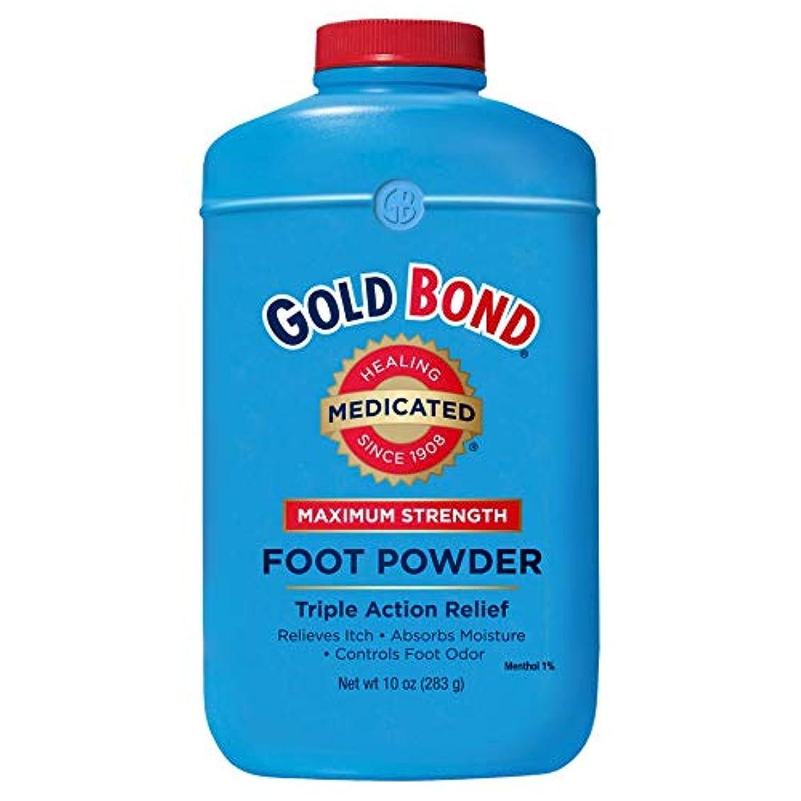 食器棚皮肉恐怖症Gold Bond 足Pwdのサイズ10Z薬用フットパウダートリプルアクション救済 4パック