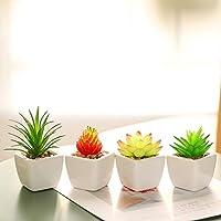 いい生活 4点セット 光触媒 人工多肉植物 ミニ 植物鉢植え 枯れない 白い正方形の植木鉢 観葉植物 室内 ホーム 庭 装饰 デコレーション (セラミックの植木鉢 B)