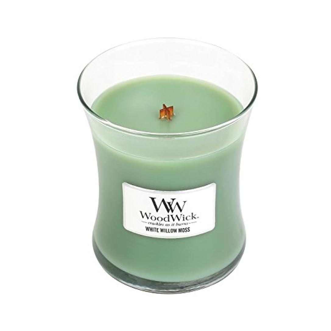 刻む要求する資金WoodwickホワイトWillowモス、Highly Scented Candle、クラシック砂時計Jar、Medium 4インチ、9.7 Oz