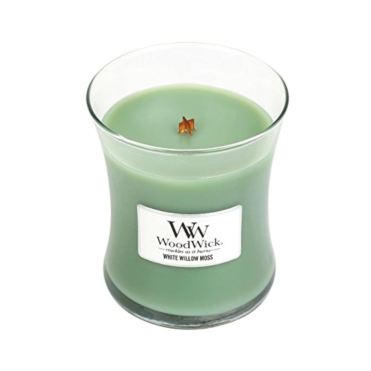 シンボル抜粋戻るWoodwickホワイトWillowモス、Highly Scented Candle、クラシック砂時計Jar、Medium 4インチ、9.7 Oz
