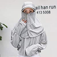 Chuiqingwang 日曜日の帽子の女性の夏の屋外の防風のサイクリングの首の帽子 (Color : Grey, サイズ : M)