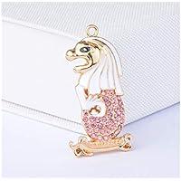 FenBuGu-JPFenBuGu-JP かわいいダイヤモンド動物のライオンヘッドキーホルダーの装飾財布ペンダントカーホルダーキーリングギフト(ピンク)