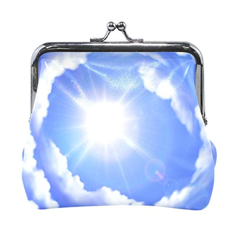 AOMOKI 財布 小銭入れ ガマ口 コインケース レディース メンズ レザー 丸形 おしゃれ プレゼント ギフト デザイン オリジナル 小物ケース 雲柄 空