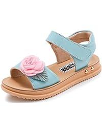 Smileキッズサンダル 女の子靴 ガールズシューズ 素敵 可愛い  お花飾り付き マジックテープ 子供靴 柔らかい 夏 小学生 中学生 通気性も良い