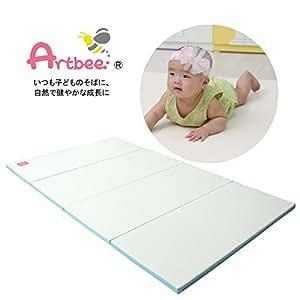 Artbee ベビー プレイマット ベーシック4段 赤ちゃん サークルマット フロアマット クリームブルー 120×200×4cm