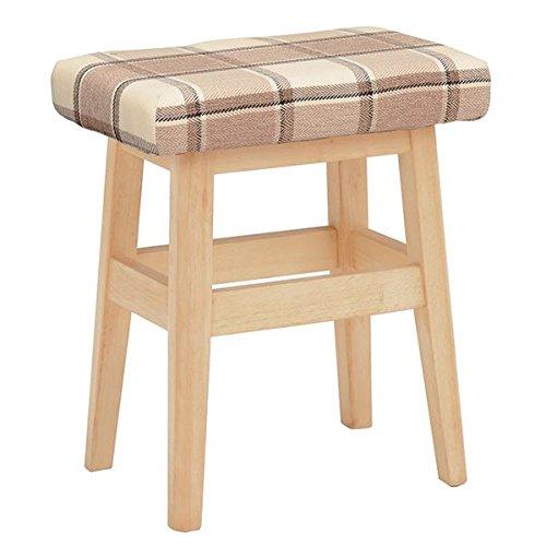 チェック柄スツール ( 腰掛け椅子 ) 木製脚 張地:ファブリック生地 VH-7943CH