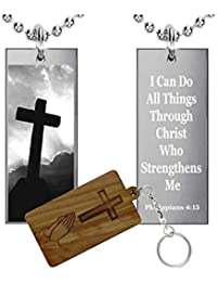 I Can Do All Things Through Christ Philippians 4 : 13 (ステンレススチール)長方形pendant-necklace