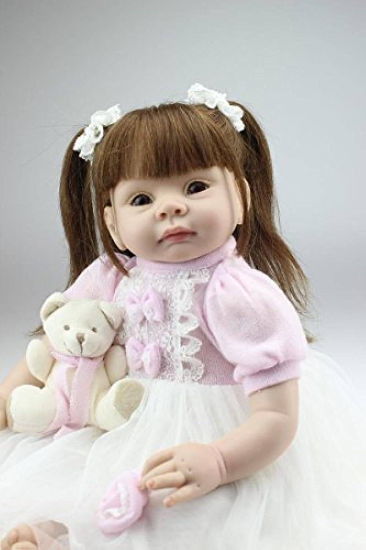 samlooビニールシリコンリアルなガールLifelikeベビー人形with Mini Bear娘ギフトWeightedベビーGrowth Partnersコレクション22インチ( 55 cm )