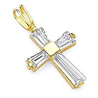 14KイエローゴールドCZクロス宗教チャームペンダント