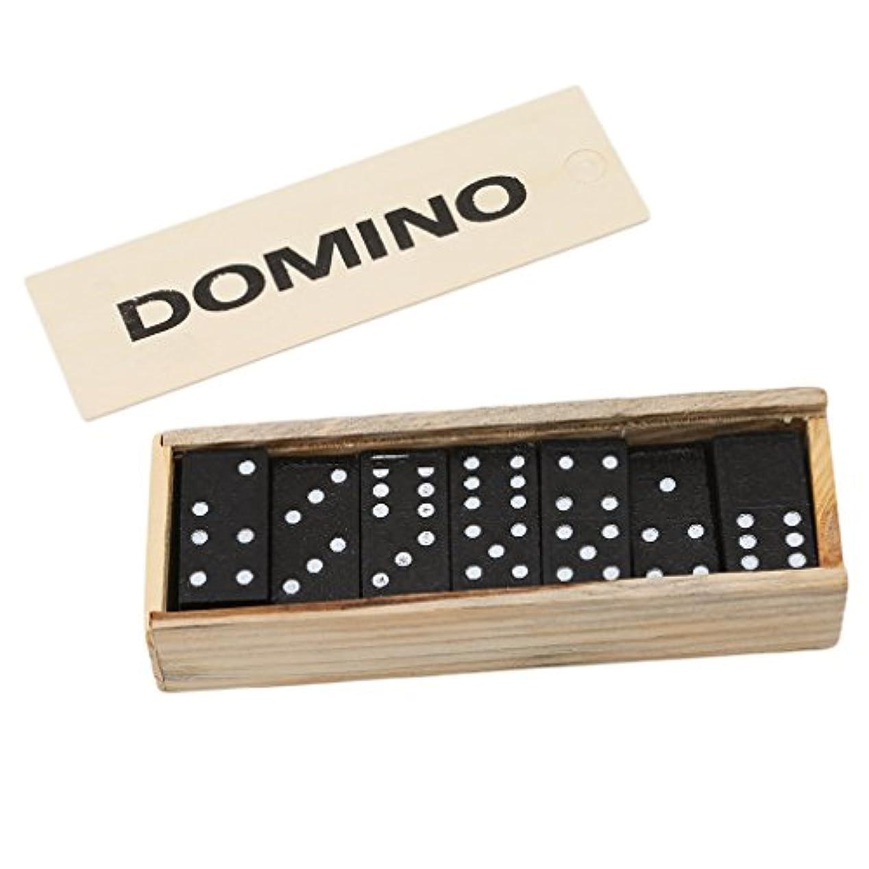半導体ユーモア報酬Meolin Black Wooden Dot Dominoes Set of 28 Dominos Game