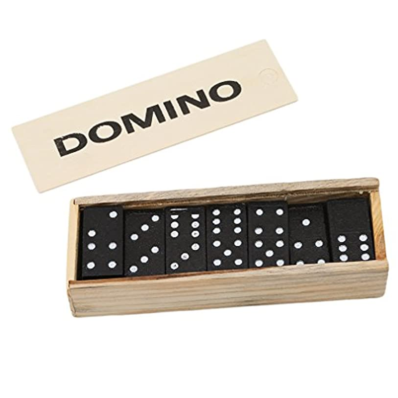 閲覧する受ける面積Meolin Black Wooden Dot Dominoes Set of 28 Dominos Game