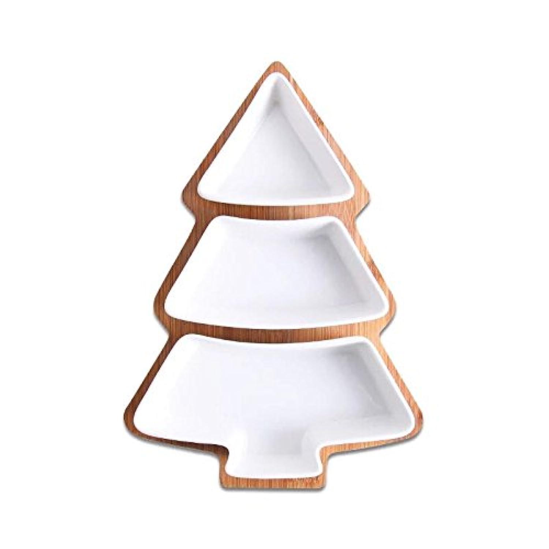Kitaku_Aoi ツリー皿 トレー 陶器 クリスマスツリー フルーツ トレー お菓子皿 デザート皿 パーティートレー アフタヌーンティー 竹トレー付き 3段 セット 新年お祝いギフト