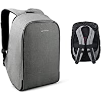 Kopack Waterproof Anti Theft Laptop Backpack with USB Charging Port Business ScanSmart Travel Bag 15.6 inch Gray Black with Rain Cover