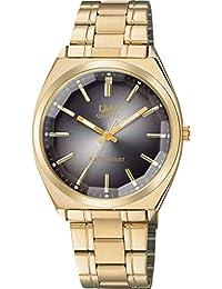 [シチズン キューアンドキュー]CITIZEN Q&Q 腕時計 アナログ クラシック 日常生活防水 ブレスレット ブラック ゴールド QB78-002 メンズ