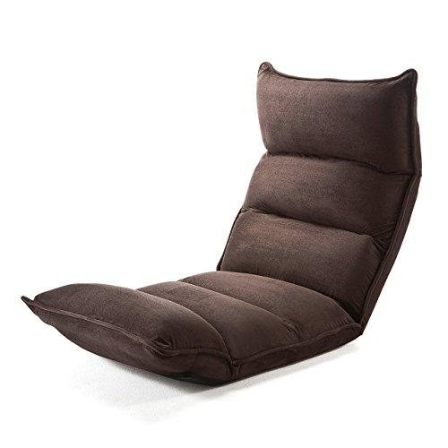 サンワダイレクト 座椅子 42段階リクライニング 低反発ウレタン マイクロファイバー ダークブラウン 150-SNCF001DBR
