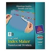 Index Maker印刷&適用クリアラベルプラスチックディバイダー、8-tab、文字、5セット