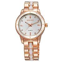 HWCOO 美しい SKONE 腕時計 女性のスチールベルト時計ファッションクォーツ時計 (Color : 1)