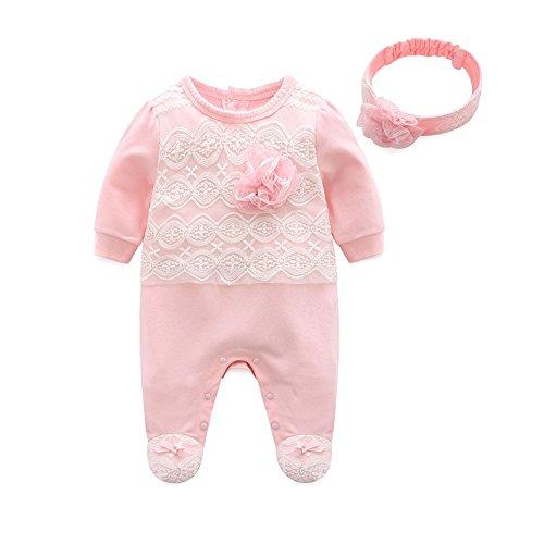 Mornyray ベビー服 ロンパース カバーオール フォーマル おしゃれ 長袖 足つき ヘアバンド 2点セット コットン 女の子 size 70 (ピンク)