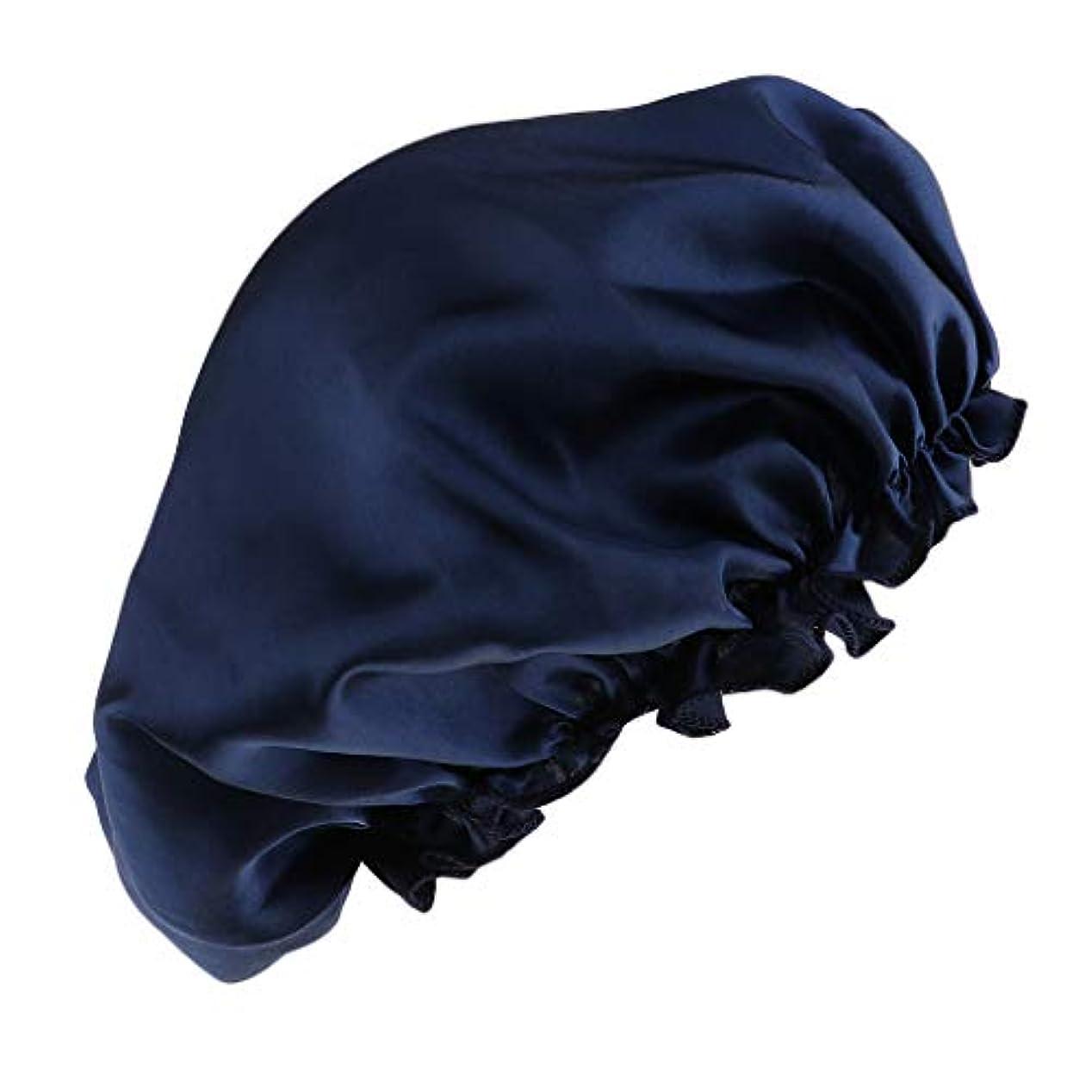 全能服を着る逃げるシャワーキャップ シルクサテンキャップ シルクサテン帽子 美容ヘッドカバー 浴用帽子 全8色 - 紺