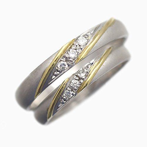 結婚指輪 マリッジリング K18イエローゴールド&プラチナ100 K18YG PT100 コンビ 指輪 ダイヤモンド 0.03ct シンプル ライン ペアリング ブライダルペアリング