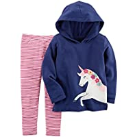 Carter's Baby Girls' French Terry Unicorn Hoodie and Striped Leggings Set