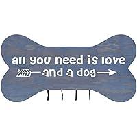 素朴なAll You Need壁マウント犬ボーンペットリードラック、犬カラーホルダー新しいホーム装飾ギフトアイデアと4フック16