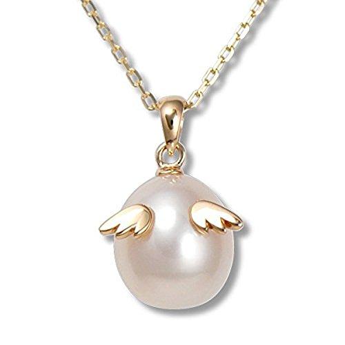 【Tenshi no Tamago】 1粒 本真珠 レディース 10金 ペンダント ネックレス 【 天使の卵 】 (ピンクゴールド)