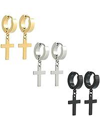 Ogemluv Stainless Steel Dangling Cross Earrings for Men Women