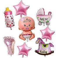 NANIWANOPANDA 浪速のパンダ ベビーシャワー 飾り 御出産 お祝い パーティー バルーン 女の子 ピンク 赤ちゃん 誕生日 ハーフバースデー