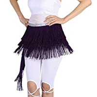 D DOLITY 5色 フリンジ スカート ヒップスカーフ タッセル ウエストチェーン セクシー ベルト ダンス衣装  - 紫