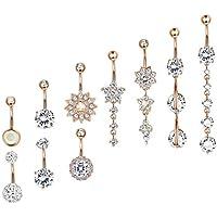 Besteel 10 Pcs 14G Stainless Steel Dangle Belly Button Rings for Women Girls Navel Rings CZ Body Piercing