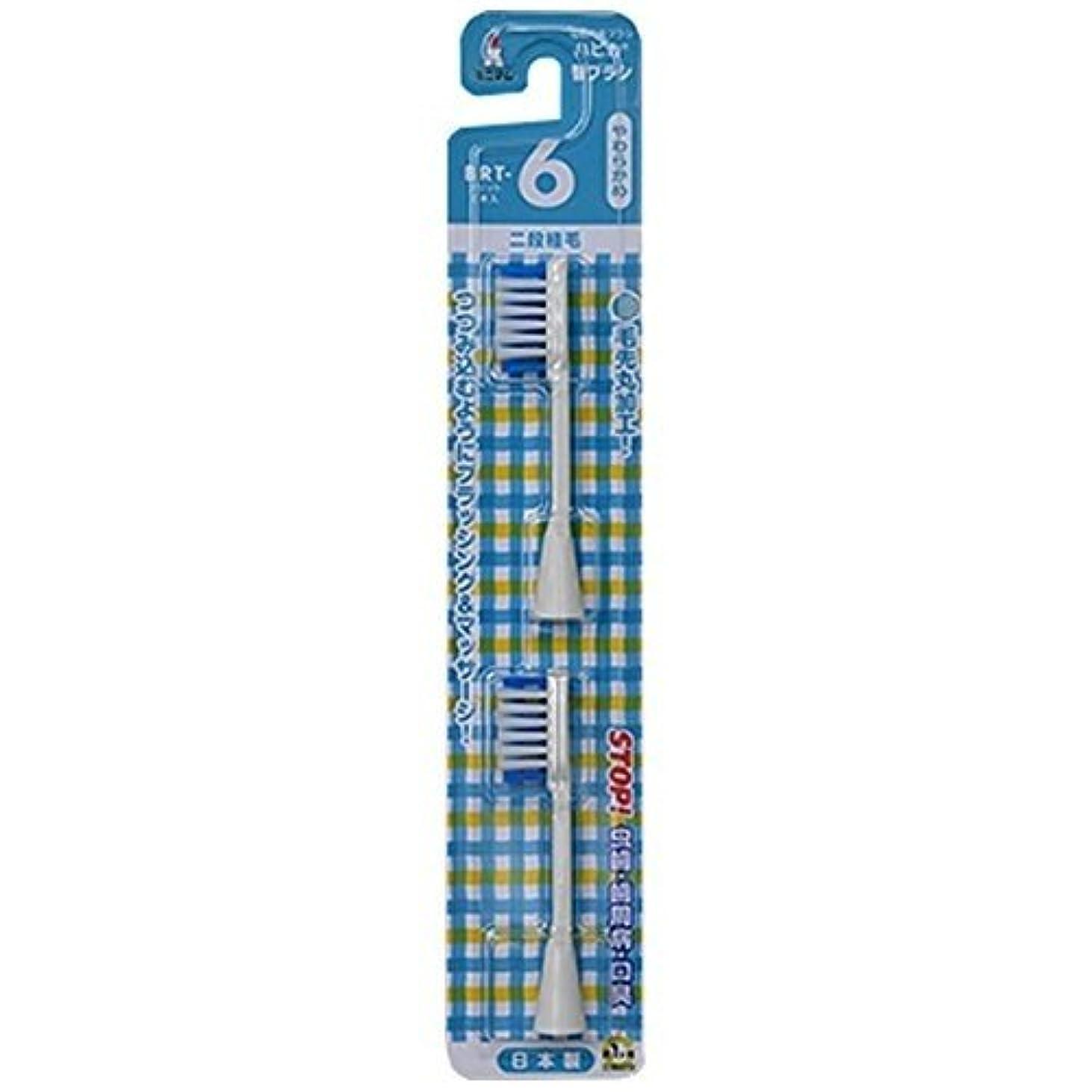 控える服を着るホステルミニマム 電動付歯ブラシ ハピカ 専用替ブラシ 2段植毛 毛の硬さ:やわらかめ BRT-6 2個入
