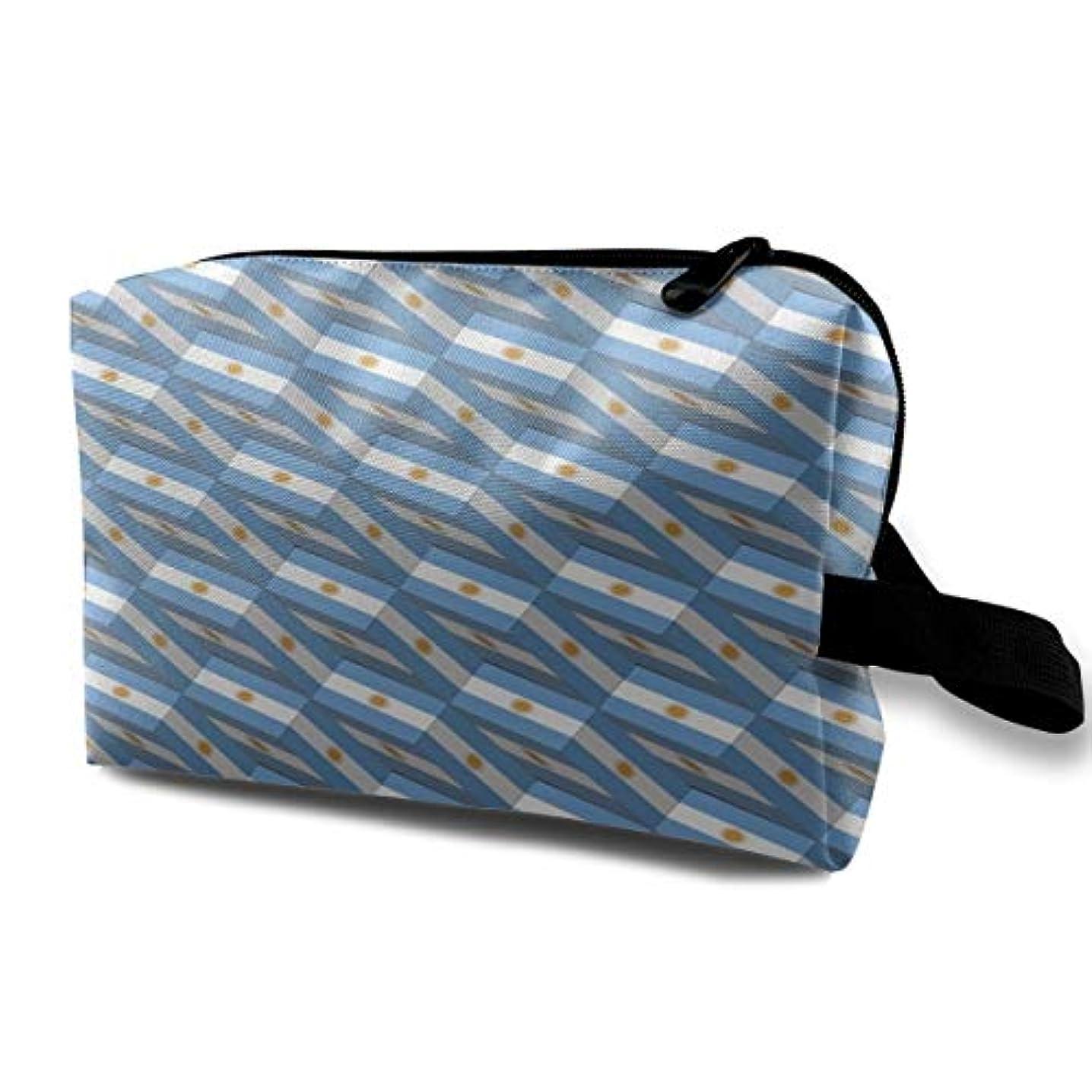とげのある生きるシルエットArgentina Flag 3D Art Pattern 収納ポーチ 化粧ポーチ 大容量 軽量 耐久性 ハンドル付持ち運び便利。入れ 自宅?出張?旅行?アウトドア撮影などに対応。メンズ レディース トラベルグッズ
