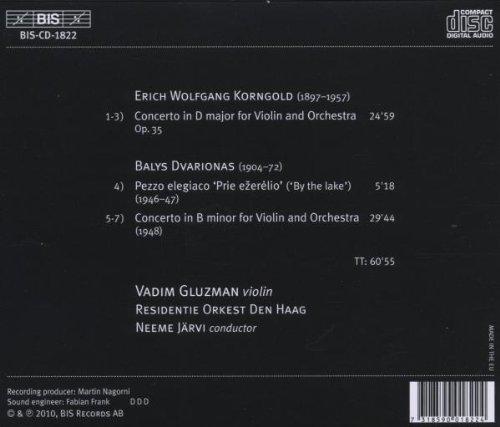 コルンゴルト:ヴァイオリン協奏曲ニ長調 Op.35 他 (Korhgold & Dvarionas : Violin Concertos / Vadim Gluzman , Neeme Jarvi)