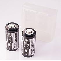 XTAR プロテクト(保護回路)搭載 リチウムイオンバッテリー (XTAR 16340-650 mAh 保護回路付 バッテリー 2本 +電池ケース セット)