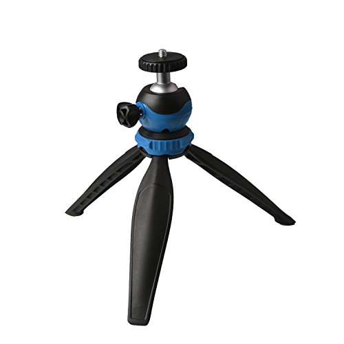 HAMSWAN卓上コンパクト三脚 自由雲台超軽量自撮り携帯用ミニ三脚 ブラック+ブルー
