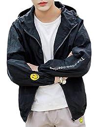 Fly Year-JP メンズカジュアルプリントルーズフィットジッパーアッププラスサイズ軽量軽量コート