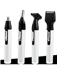 男性用女性用鼻毛トリマー、4つのうち1つの再充電可能なプロフェッショナル電動眉毛と顔用ヘアトリマー、湿/乾(白)