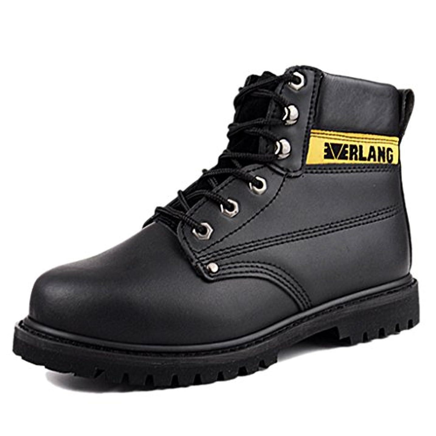 異常な意気消沈した間違いなく[Placck安全] 作業靴 安全靴 中編上 マーティン ブーツ オートバイ靴 防滑 防水