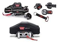 Warn 96805/90287/91415 VR8-S ウィンチ & ソフトゾーン ネオプレンウィンチカバーバンドル トラック用ワイヤレスリモート付き