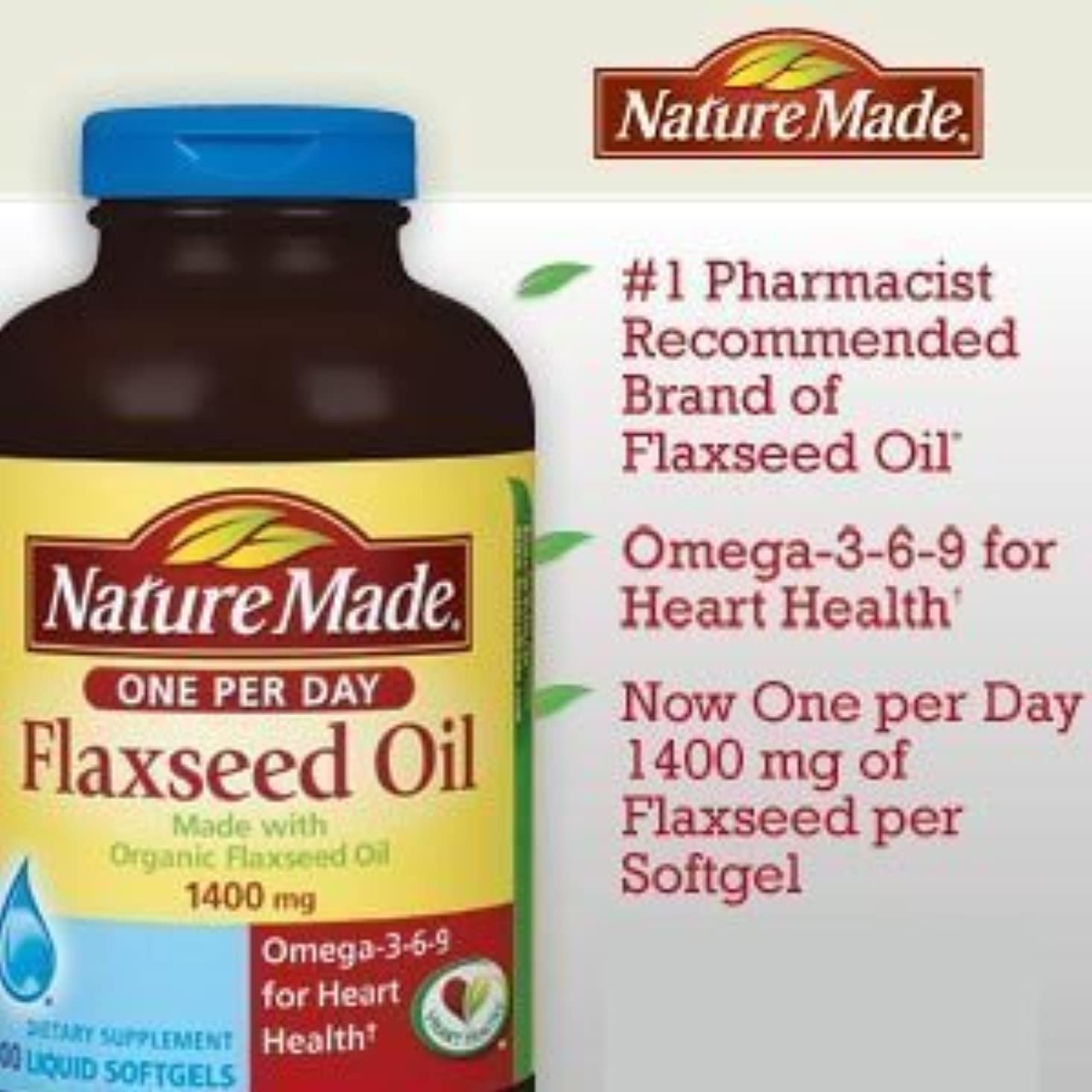 Nature Made Organic Flaxseed Oil, Omega-3-6-9 for Heart Health, 1400 mg, Liquid Softgels - 300 Count by USA [並行輸入品]
