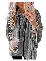 EnergyWD 女性ピュアカラーハイネックバットスリーブポケットスリムフィットアウトウェアスウェットシャツ Grey M