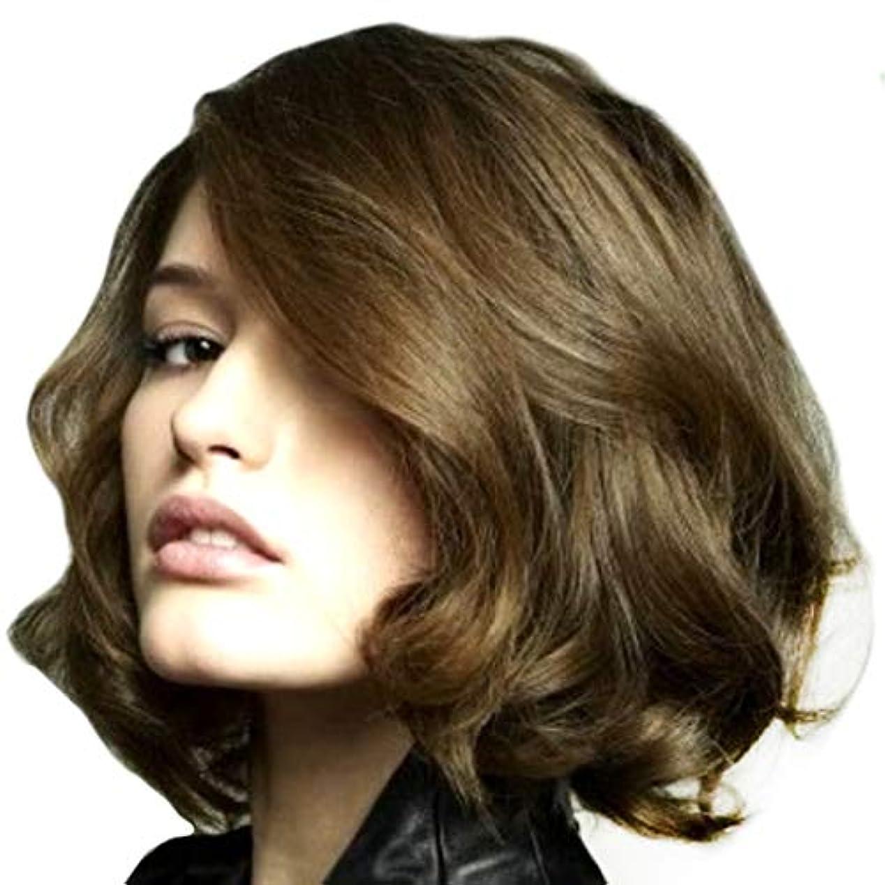 観点終わった検証Kerwinner 女性のための短い巻き毛の斜め前髪化学繊維高温ワイヤーをかつら